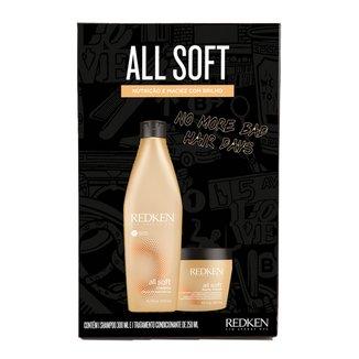 Kit Redken All Soft Shampoo 300ml + Máscara de Tratamento 250ml