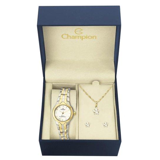 Kit Relógio Champion Feminino - CH25203W - Dourado