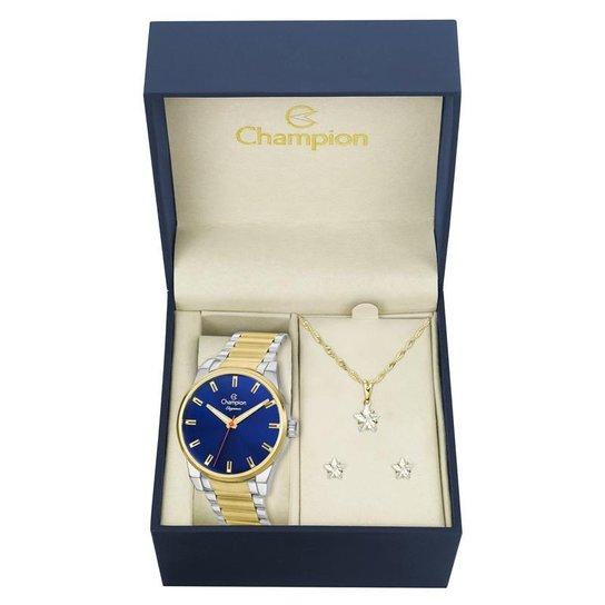 Kit Relógio Champion Feminino Elegance - CN27590K - Dourado