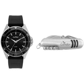 Kit Relógio Condor Analógico Esportivo CO2035MTK/K3P + Canivete Masculino