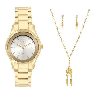 Kit Relógio Condor Eternal Elegante Dourado CO2036MVWK4D Feminino