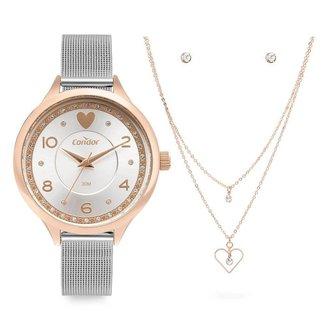 Kit Relógio Condor Feminino COPC21AECD/K4K + colar e brincos