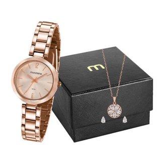 Kit Relógio Feminino Mondaine Analógico - 53611LPMVRE2K1 com Acessórios
