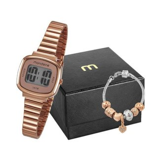 Kit Relógio Feminino Mondaine Digital 53717LPMVRE2K1 com Acessório