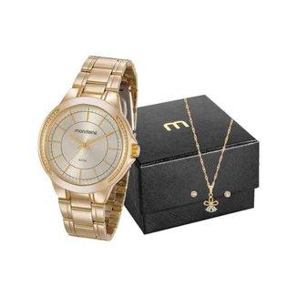 Kit Relógio Feminino Mondaine Dourado 99239LPMVDE1K2