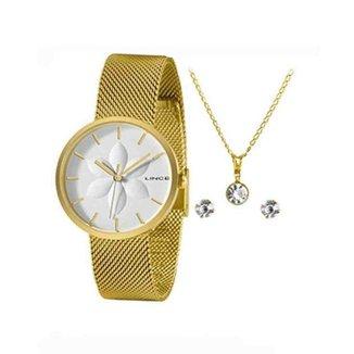 Kit Relógio Lince Dourado Feminino LRGH154L KZ75B1KX