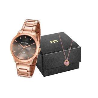 Kit Relógio Mondaine Feminino Analógico 53606Lpmvre4K2