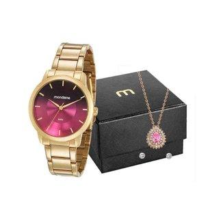 Kit Relógio Mondaine Feminino Dourado 53606LPMVDE3K2