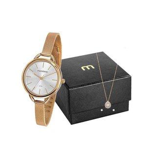 Kit Relógio Mondaine Feminino Dourado 53612lpmvde1k1