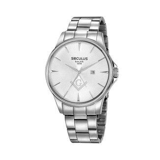 Kit Relógio Seculus Aço com Broche Feminino