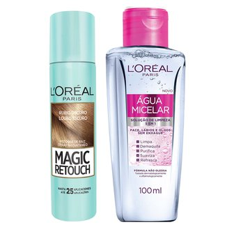 Kit Retoque de Raiz Spray Instantâneo L'Oréal Paris Magic Retouch Louro Escuro + Água Micelar 100ml