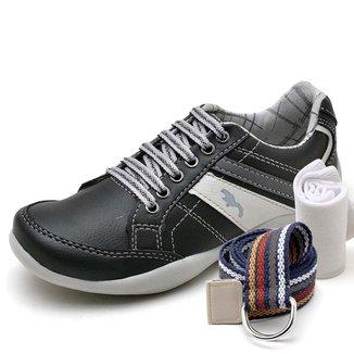 Kit Sapatênis Infantil Casual Top Franca Shoes + Cinto e Meia Masculino