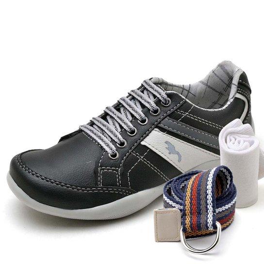 Kit Sapatênis Infantil Casual Top Franca Shoes + Cinto e Meia Masculino - Preto