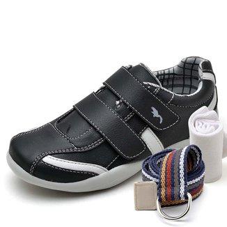 Kit Sapatênis Infantil Casual Top Franca Shoes Preto + Cinto E Meia Masculino