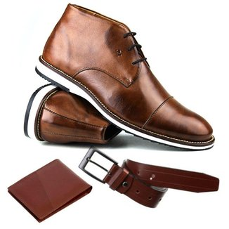 KIT Sapato Casual Brogue Premium Comfort Social + Cinto e Carteira Couro