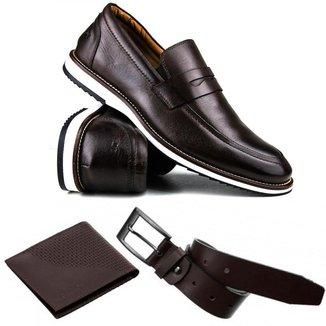 KIT Sapato Casual Brogue Premium Confort Social + Cinto e Carteira Couro