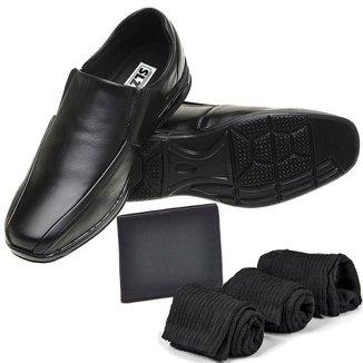 Kit Sapato Casual Elástico com Carteira 3 Meias Zabath Masculino