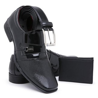 Kit Sapato Masculino Com Carteira e Cinto Para Uso Social Schiareli 738 Envernizado