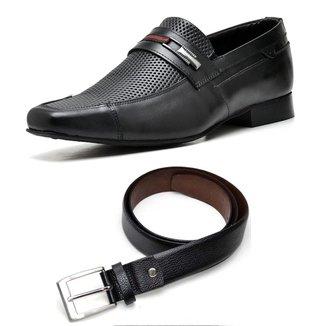 Kit Sapato Social Couro + Cinto Top Franca Shoes Masculino