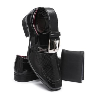 kit Sapato Social Masculino Adulto Com Carteira e Cinto Schiareli 810 Envernizado