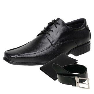 KIT Sapato Social Masculino Cinto e Porta Cartão Couro NS 3010