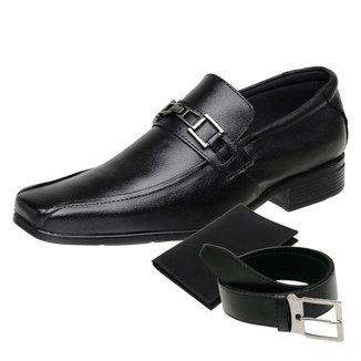 KIT Sapato Social Masculino Cinto e Porta Cartão Couro NS 3031
