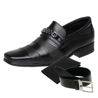 KIT Sapato Social Masculino Cinto e Porta Cartão Couro NS 3041