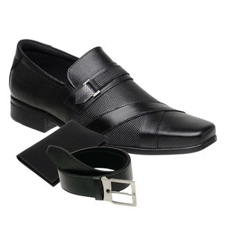 KIT Sapato Social Masculino Cinto e Porta Cartão Couro NS 3071