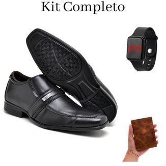 Kit Sapato Social Masculino Conforto Gel + Carteira Couro Animal + Relógio Digital