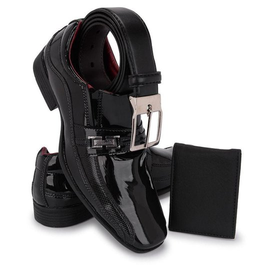 Kit Sapato Social Masculino Elegante + Carteira Leve + Cinto - Preto