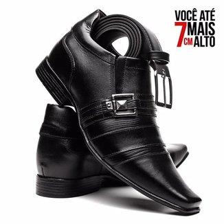 Kit Sapato Social Venetto em Couro Aumenta Altura com Cintoo