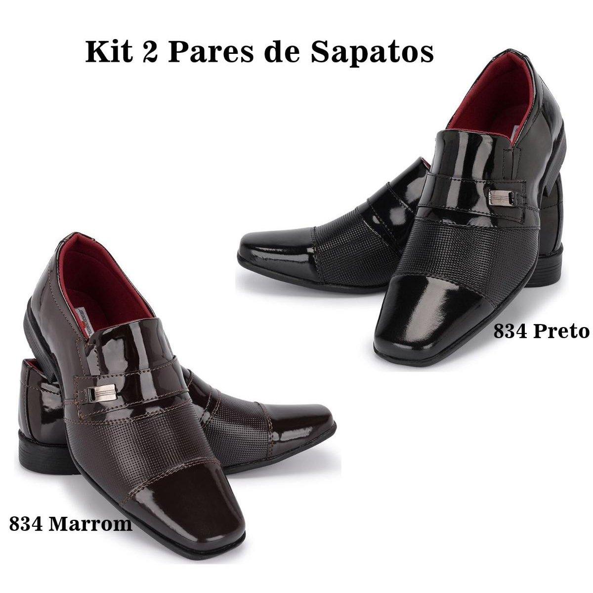 ef247d1fb7 Preto Preto Schiareli Social Social Verniz Sapato e Kit Social Masculino  Sapato Fa1xff