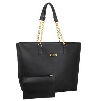 Kit Selten Bolsa Shopper Ombro Grande + Necessaire Dia A Dia Feminina-Feminino