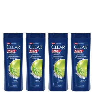 Kit Shampoo Anticaspa Clear Men Controle e Alívio da Coceira 200ml 4 Unidades