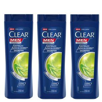 Kit Shampoo Anticaspa Clear Men Controle e Alívio da Coceira 200ml com 3