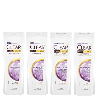 Kit Shampoo Anticaspa Clear Women Hidratação Intensa 200ml 4 Unidades
