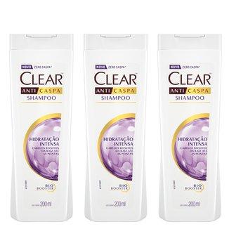 Kit Shampoo Anticaspa Clear Women Hidratação Intensa 200ml com 3