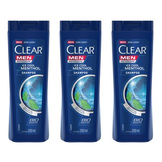 Kit Shampoo Clear Ice Cool Menthol Anticaspa 200ml 3 Unidades