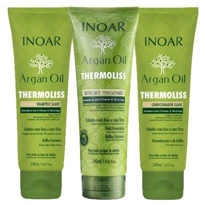 Kit Shampoo + Condicionador + Balsamo Inoar Argan Oil Thermoliss Kit