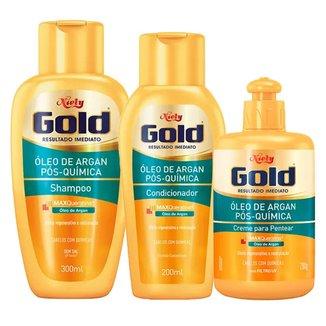 Kit Shampoo + Condicionador + Creme de Pentear Óleo de Argan Pós Química Niely Gold