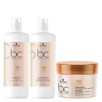 Kit Shampoo + Condicionador+ Máscara Schwarzkopf BC Q10+ Time Restore