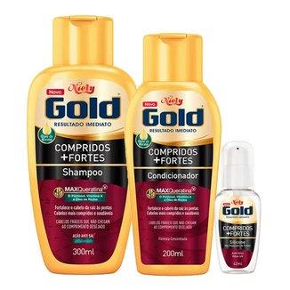 Kit Shampoo + Condicionador + Óleo Niely Gold Reparação Compridos + Fortes