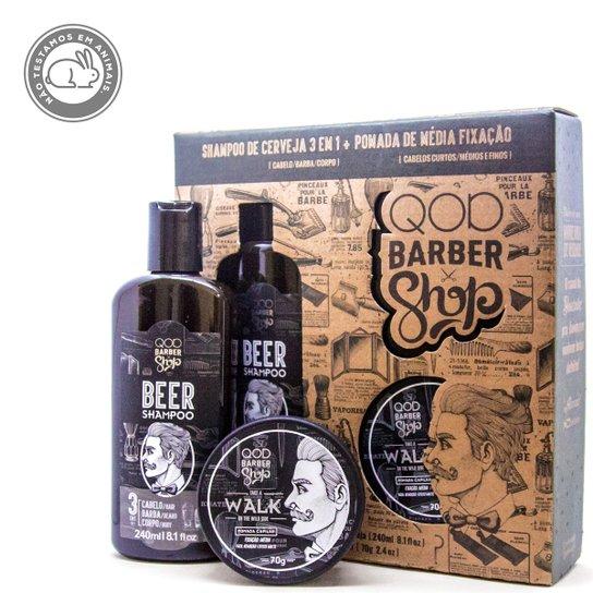 Kit Shampoo de Cerveja QOD Barber Shop 3 em 1 + Pomada Capilar Walk - Incolor