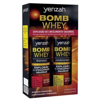 Kit Shampoo Yenzah Bomb Whey 240ml + Condicionador Yenzah Bomb Whey 240ml