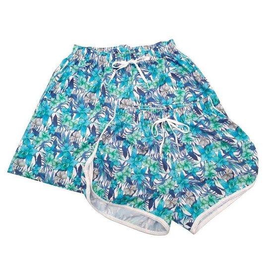 Kit Short Casal Bermuda Moda Praia Floral Verde - Preto+verde