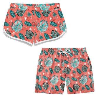 Kit Short Namorados Bermuda Com Etampa Verão Moda Praia TSM Tactel Casual