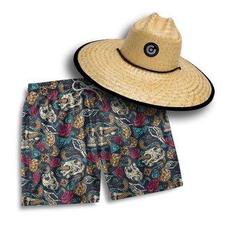 Kit Short Praia Masculino + Chapéu Palha Pierside Dia a Dia