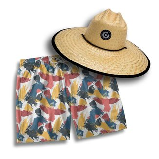 Kit Short Praia Masculino + Chapéu Palha Pierside Leve Verão