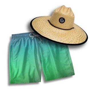 Kit Short Praia Masculino + Chapéu Pierside Palha Dia a Dia
