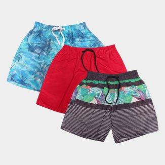 Kit Shorts Wall Estampada Masculina 3 Peças